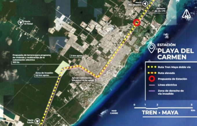 Esta es la ruta del Tren Maya en Playa del Carmen, hasta ahora